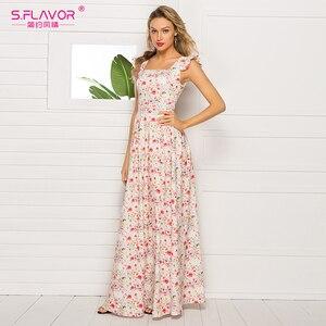 Image 4 - Sabor francês estilo floral impresso vestido feminino 2020 venda quente sem mangas magro verão longo vestidos maxi casuais