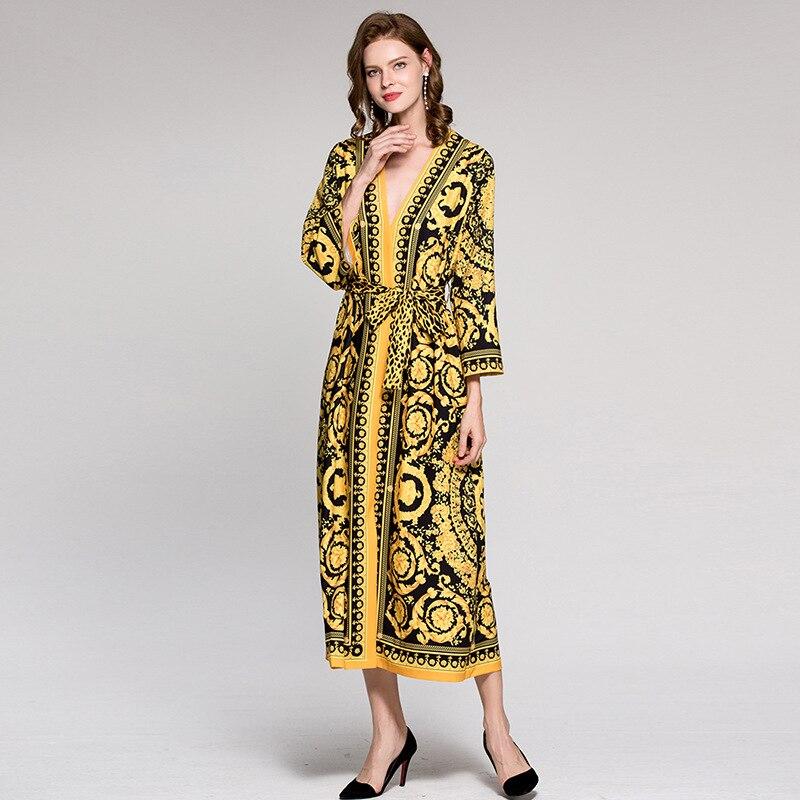 Sexy Europe piste de luxe doré bohème rétro imprimé motif couleur col en v à manches longues lâche robe de style léopard ceinture robes