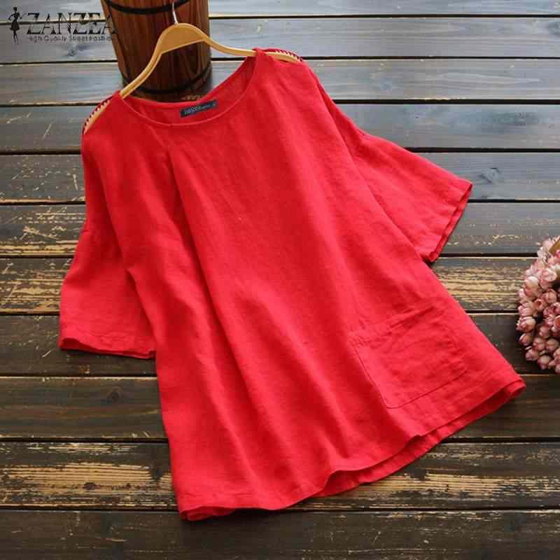2019 בתוספת גודל ZANZEA קיץ חולצה נשים מקרית מוצק חצי שרוול Vintage כותנה פשתן המפלגה טוניקת חולצות חולצות Femme תחתונית