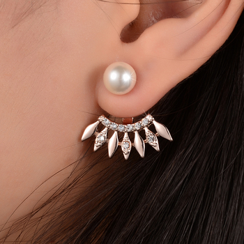 High Quality Crystal Simulated Pearl Earring for Women Gold Color Front Back Double Side Ear Cuff Charm Jewelry