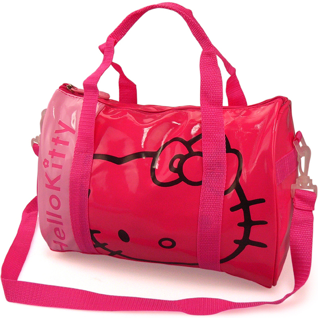 Cute Cartoon Hello Kitty Patent Leather Travel Bags Female Women S Las Handbags Messenger Shoulder Bag
