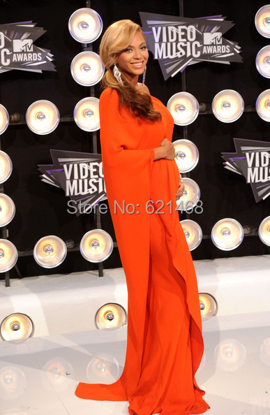 One Shoulder New Beyonce Knowles Orange Dress Chiffon Celebrity ...