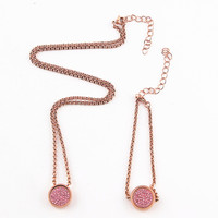 2 Sets Luxury Rose Gold Magnetic Interchangeable Crystal My Coin Cambio Bracelet And Necklace DIY Women