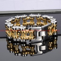 High Quality 9 Heavy 316L Stainless Steel Silver Gold Tone Bicycle Brushed 20/22mm Cuff Chain Bracelet For Men's Cool Jewelry