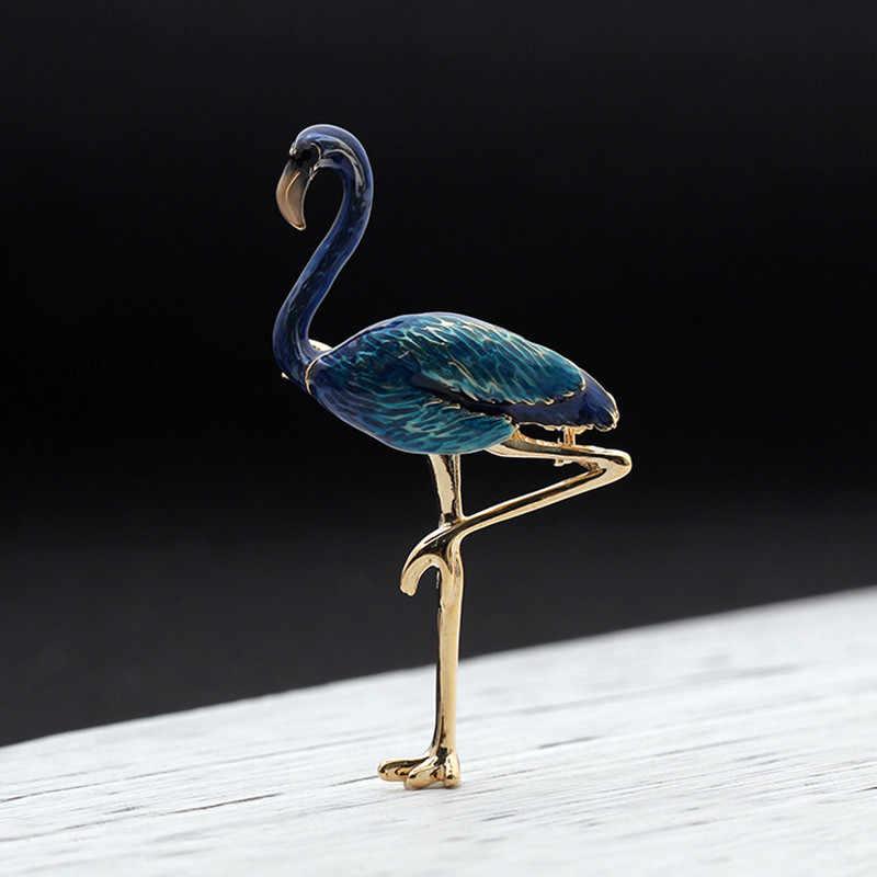 Fashion Kreatif Kualitas Tinggi Hewan Flamingo Burung Bros Wanita Pria Logam Bros dengan Hewan Pin Perjamuan, bros Hadiah Gesper