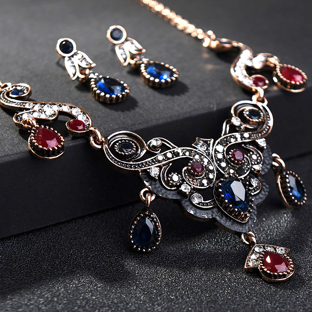 Jewelry-Sets Bangle-Set Earring Tassel-Costume Statement Necklace Crystal Turkish Wedding