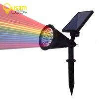 7 LED Solar Spotlight Auto Change 7 Color Waterproof Solar Powered Lamp Landscape Wall Light Outdoor
