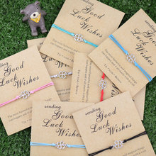 Good Luck Vibes трилистник браслет желаний счастливый четырехлистный клевер Трилистник талисманы браслеты ювелирные изделия ручной работы для женщин дружба подарок