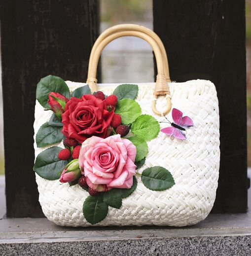 715f6056f74d4f Miwind F roses decals decorating tote bags,DIY flowers hand woven straw  beach trips women's summer new fashion handbags bolsa-in Top-Handle Bags  from ...