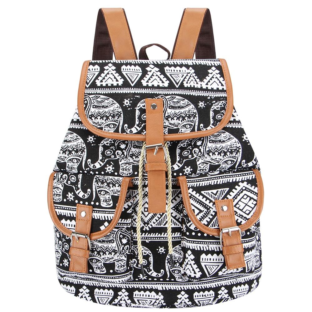 Sansarya 2018 Vintage Black Elephant Canvas Printing Backpack Women Drawstring Rucksack Bagpack Mochilas Feminina Aztec Bag