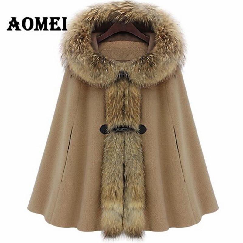 Зимний женский плащ с капюшоном, кашемировая шерсть, воротник из искусственного меха, пончо, Осеннее шерстяное пальто, женская верхняя одежда, манто, одежда - Цвет: CAMEL