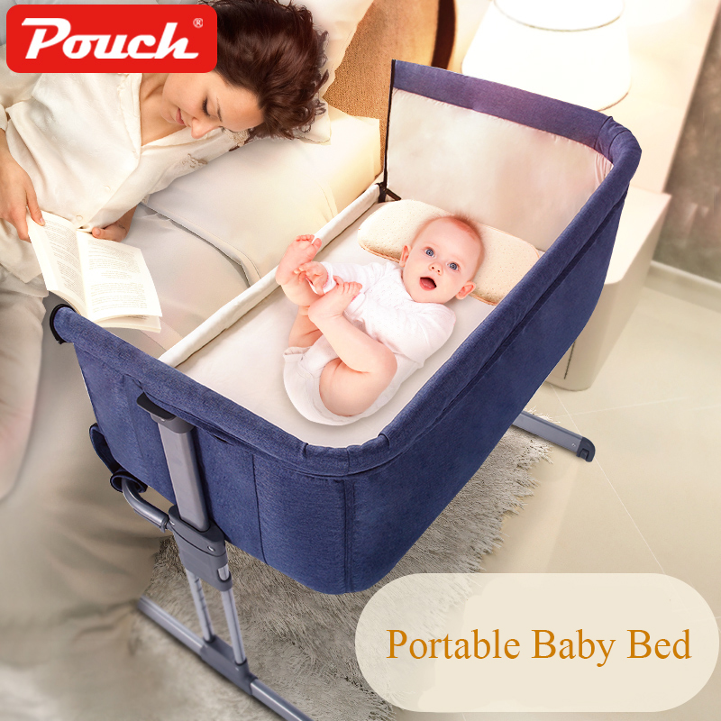 Pouch Baby Crib Folding Crib With Roller Travel Bed Portable Convenience To Take Quality Material Cloth Big Space Cribs
