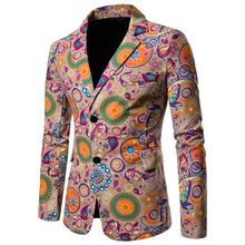 National style Mens Suits Blazers Cotton Linen Casual Floral Men Blazer designs Slim fit Jacket Coat New Casaco masculino
