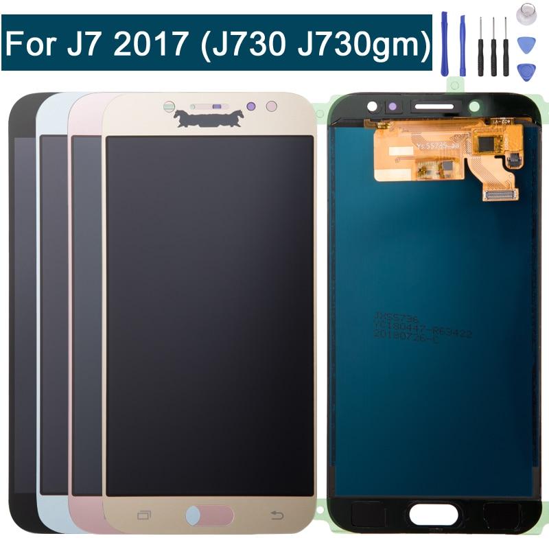 Écran lcd Écran de Remplacement Pour Samsung Galaxy J7 Pro 2017 J730G J730GM Tactile Digitizer + Outils De Réparation Bleu et Or et noir