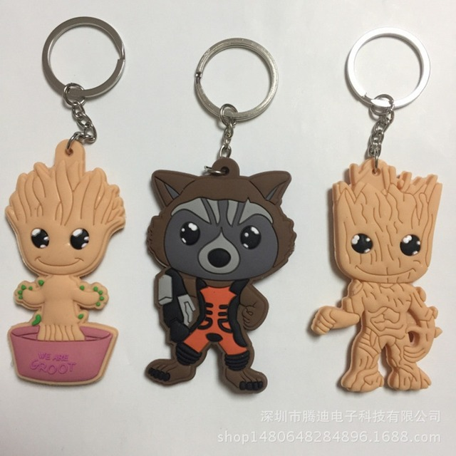 Guardians of the Galaxy cartoon PVC Keychain Groot Rocket Raccoon cos Anime Double-sided soft rubber Llaveros jewelry kid toys