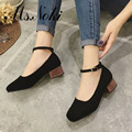 2016 autumn new fashion Ankle Strap women pumps solid Classics wedging ladies shoes round toe Buckle Strap rubber shoes of woman