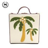 SCIONE Nette Taschen Kokospalme Stickerei Handtaschen Mit Perle Qualität PU Kupplungen Box Sperre Tote Geldbörse Mode
