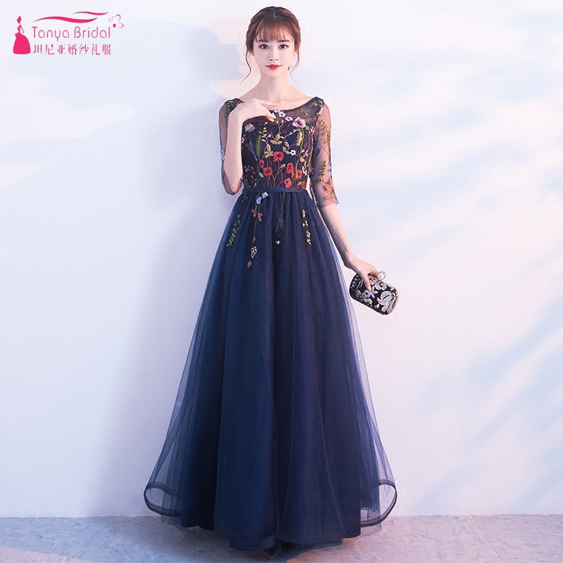Scoop Neck Lace Bridesmaid Dresses Floor Length Navy Blue Formal Wedding Party Dress Embroidery Women Wedding Guest Dress JQ288