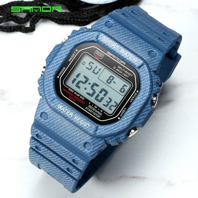2018 Sanda Sport Watch Men Women Denim Color Watchband Waterproof Couple Unique Designed LED Digital Watches Male Clock