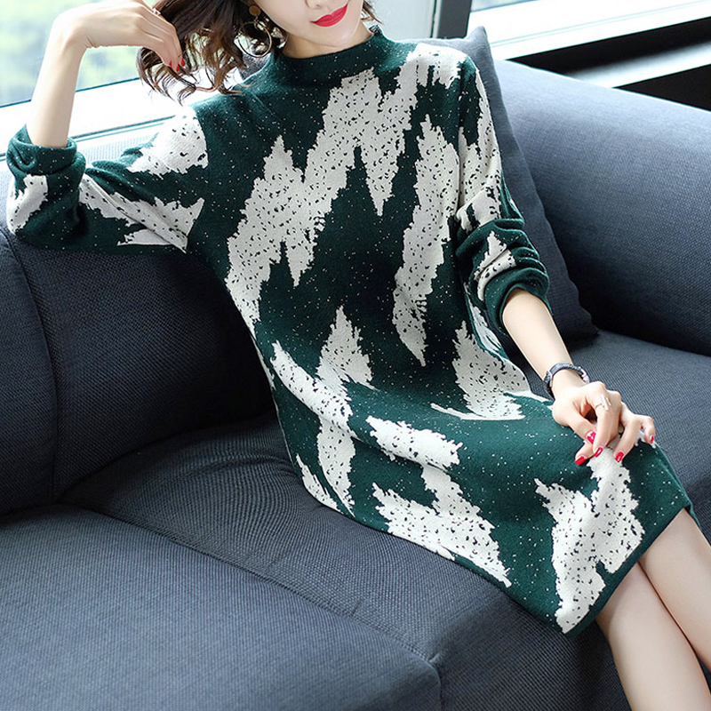 Fall Fashion Women Female Long Sleeve Dot Knitted Jacquard Sweater Dress , Winter Woman Loose Knit Green Black Sweaters Dresses