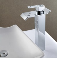 Wholesale And Retail Chrome Finish Waterfall Faucet Bathroom Basin Mixer Tap with Hot and Cold Water Deck Mounted Free Shipping