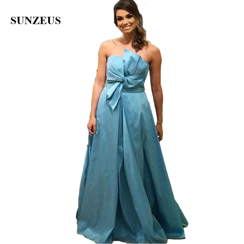 Blue Satin A-Line Bridesmaid Dresses Strapless Ruched Top Elegant African Maid of Honor Dresses Candy Color Prom Gowns