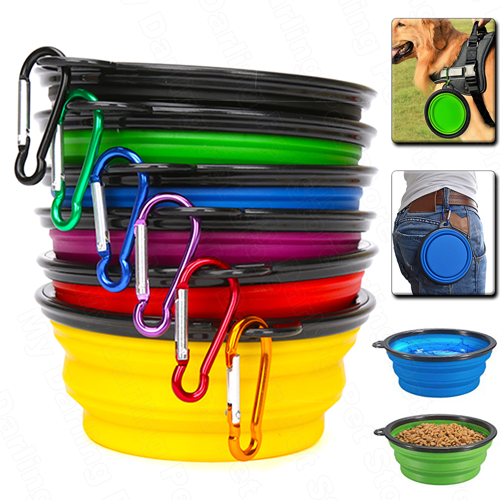 Travel Collapsible Pet Dog Bowl Folding Silicone Bowl For Dogs Outdoor Water Food Feeding Bowl Foldable Cup Dish For Dog Cuenco