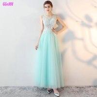 Seksi Nane Abiye 2018 Yeni Akşam elbise Uzun O-Boyun Tül Aplikler Boncuk Kadınlar Örgün Parti Elbise Balo Hızlı teslimat