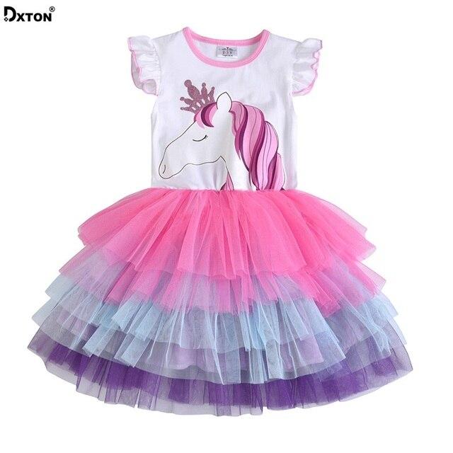 Dxton Crianças Girls Dress 2019 Unicórnio Verão Sundress Crianças Vestidos de Menina Trajes Dos Desenhos Animados Vestidos de Princesa Roupas SH4590 Mix