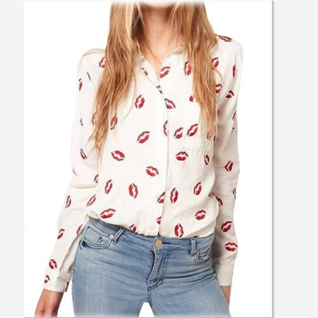 2016 Women Turn-down Collar Red Lip Print White Lady Chiffon Shirt Long Sleeve blusa Tops Plus Size Free Shipping y487
