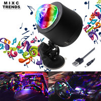 MIXC TRENDS 6 Color changing Car DJ Music Light Mini RGB LED MP3 Disco Crystal Magic Ball Stage Strobe Flash lamp With USB plug