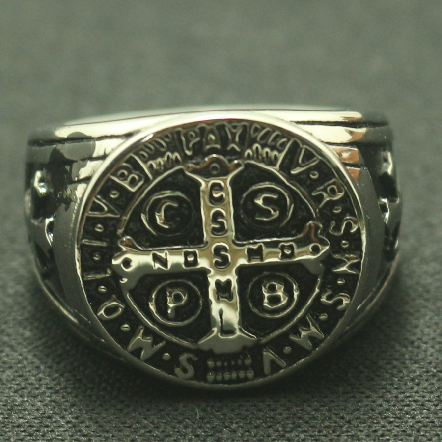 Lady style 5 to 10 Size Saint Benedict of Nursia CSPB CSSML NDSMD Christianity Jesus Exorcism 316L Stainless Steel Ring gj303 rhinestones 316l stainless steel couple s ring black silver size 9 7 2 pcs
