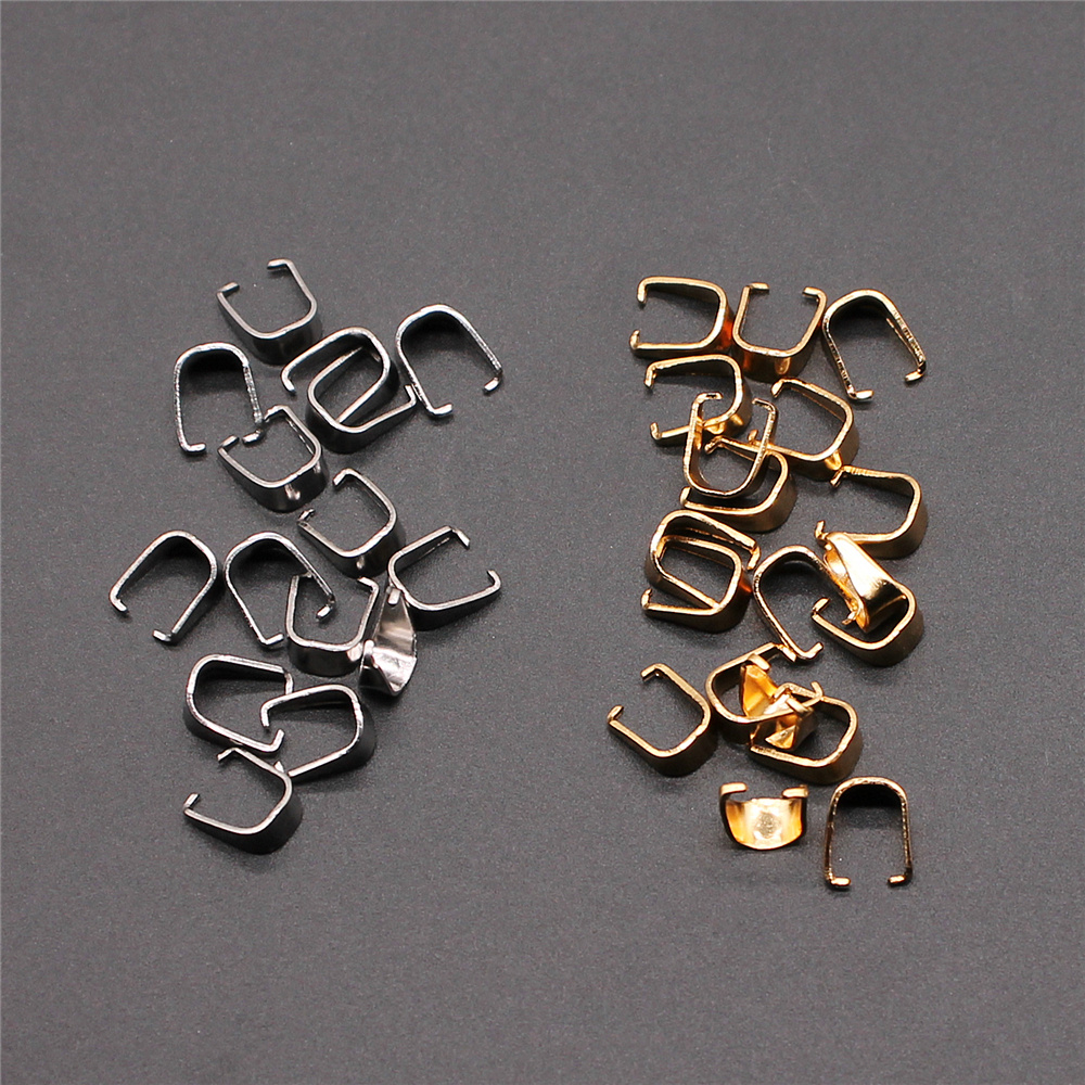 50pcs 2 Colors 5x6mm Stainless Steel Material Clasps Pinch Clips Bails Charm Melon Seeds Buckle Pendant DIY Jewelry Findings