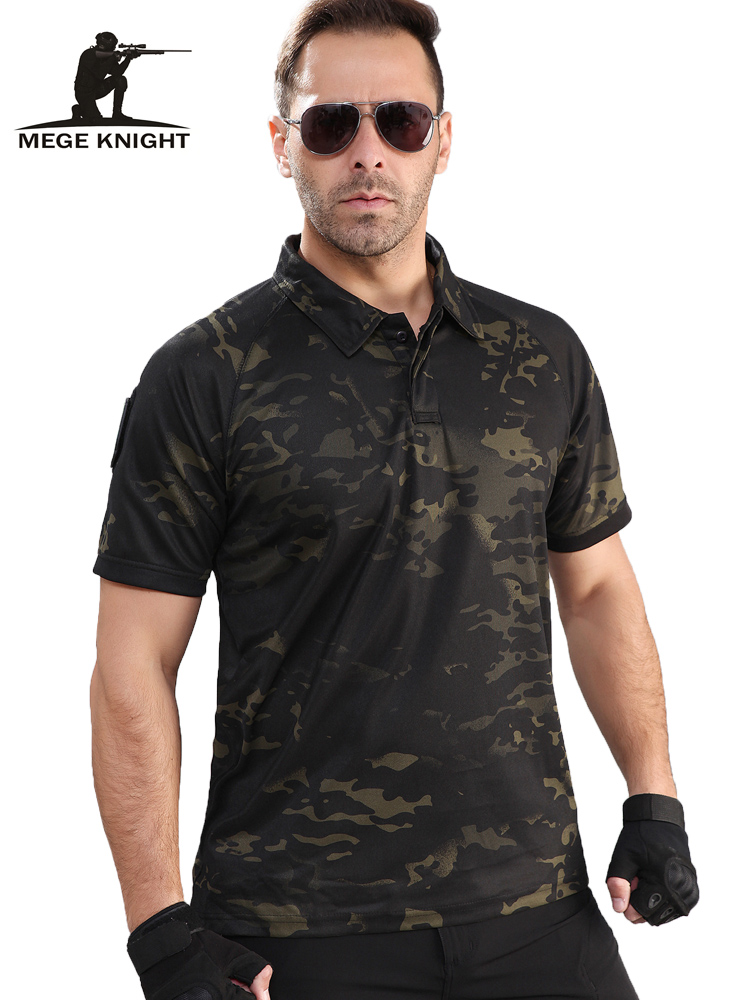 MEGE 2019 Men Summer   Polo   Shirt Casual Men Military Camouflage Short Tactical Oversize Shirt musculation   polos   para hombre