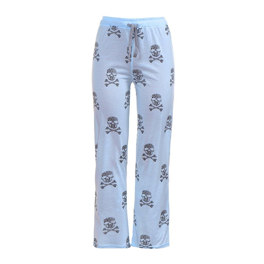 Polyester Women Lady Causal Daily High Waist Skull Print Wide Calf Length Long Leg Pants Women