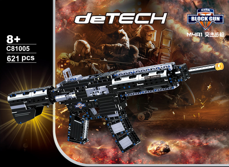 Modern military weapons building block M4A1 model assemblage toys rubber band gun bricks collection for boys gifts modern military world war giant battleship type 052d destroyer 2in1 building block plastic submarine model bricks toys for boys