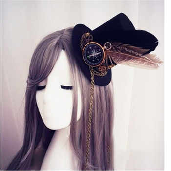Womens Lolita Cosplay Little Hat Hairpin Steampunk Mini Top Hat Vintage Fedoras Hat Gothic Gear & Compass Feather Chain Headwear - DISCOUNT ITEM  40% OFF All Category