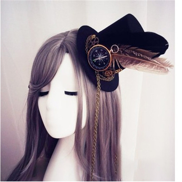 e05892edbc938 Womens Lolita Cosplay Little Hat Hairpin Steampunk Mini Top Hat Vintage  Fedoras Hat Gothic Gear   Compass Feather Chain Headwear