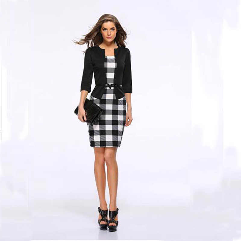 New business attire dress Square collar slim professional dress party dress  plus size women dresses Fake two workwear + belt