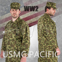 WWII US USMC PACIFIC CAMOUFLAGE FIELD UNIFORM JACKET SHIRT AND PANTS TROUSERS US/501105
