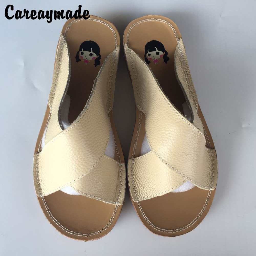 Careaymade-Summer pure handmade shoes ,Art all-match genuine leather simple casual flat sandals,Women sandy beach sandals,2color huifengazurrcs new pure handmade casual