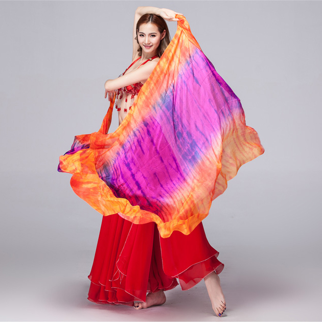 100% Silk Stage Performance Prop Double Colors Tie Dye Light Texture Scarf Women Dance Accessories Belly Dance Silk Veil