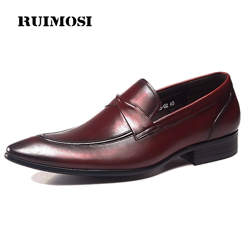 RUIMOSI Basic Italian Designer Man Casual Shoes Genuine Leather Height Increasing Loafers Pointed Toe Men's Bridal Footwear GD66