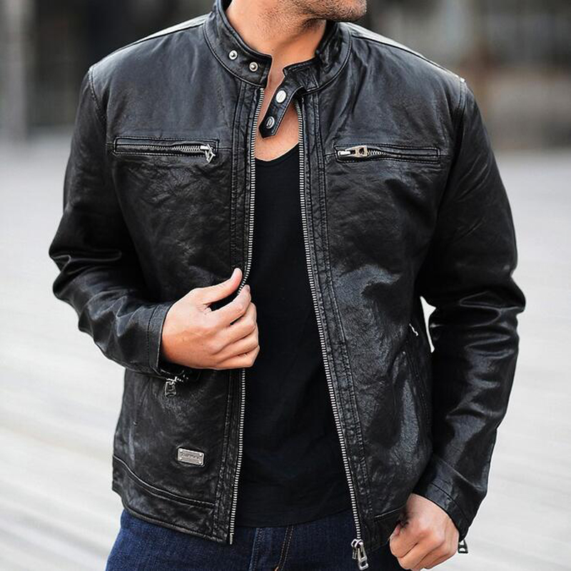Mens genuine leather jacket real sheepskin leather fashion brand clothing men motorcycle biker short jackets coats