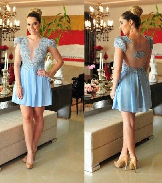 Design Styles Elegant Robe De Cocktail Dresses Chiffon Illusions Back 2016 Party Gowns Short Dresses Vestido De Festa Curto
