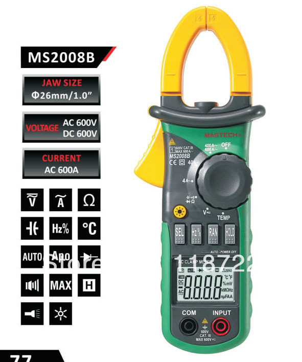 Free Shipping Professional AC Digtal Clamp Meter with Light Temp Frequency MASTECH MS2008B free shipping ac
