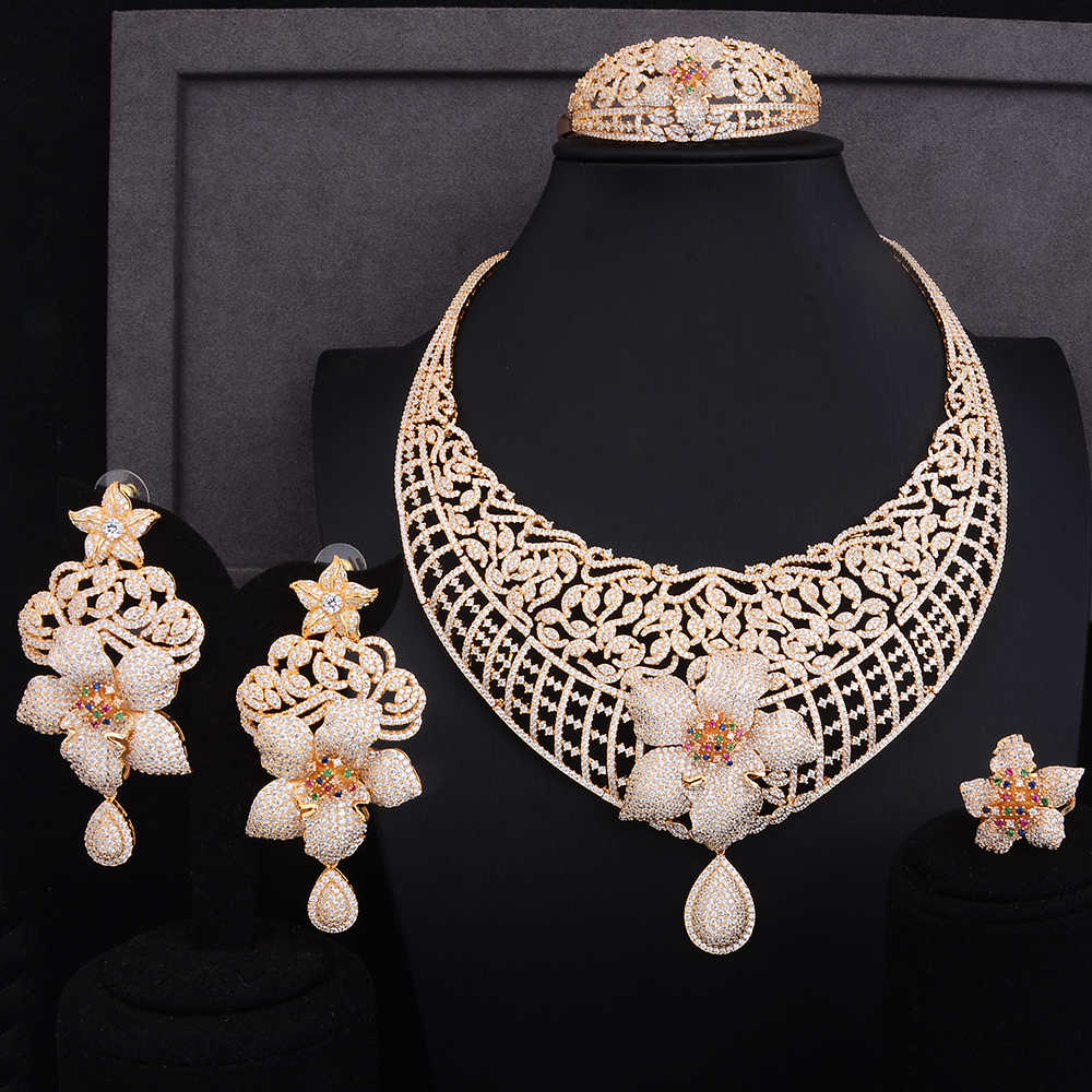 GODKI  95MM Begonia Flowers Luxury Women Bridal Cubic Zirconia Ring Bangle Necklace Earring Dubai Jewelry Set Jewellery AddictGODKI  95MM Begonia Flowers Luxury Women Bridal Cubic Zirconia Ring Bangle Necklace Earring Dubai Jewelry Set Jewellery Addict