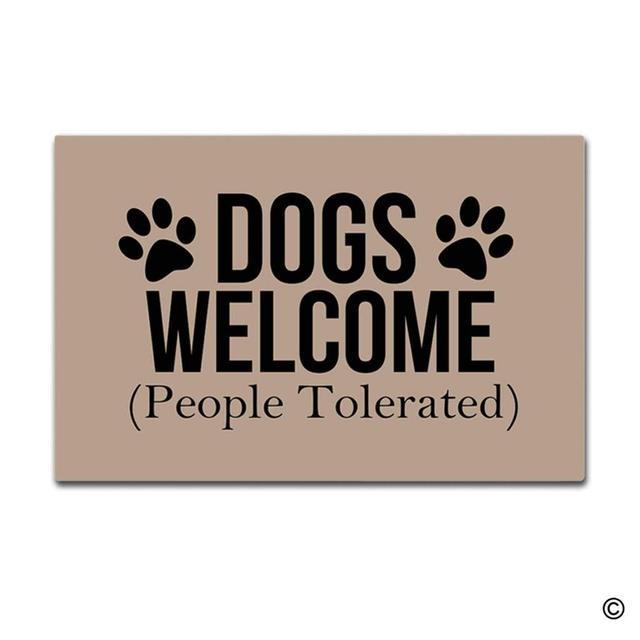 Deurmat Entree Mat Enterways Honden Welkom (Mensen Getolereerd) deurmat 23.6 door 15.7 inch Machine Wasbare niet geweven Stof