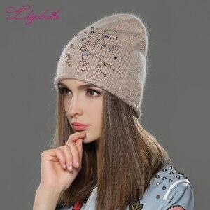 Image 2 - Liliyabaihe feminino outono e inverno chapéu angora malha skullies gorros boné clássico cor diamante decoração chapéus para meninas