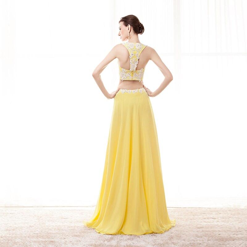 Images réelles deux pièces robe de bal Sexy longue en mousseline de soie Applique élégante Orange robe de soirée formelle grande taille